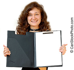 Business woman holding a file folder isolated