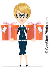 Business woman holding a gifts
