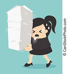 business woman holding a lot of documents