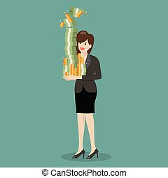 Business woman holding a lot of money
