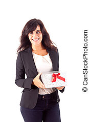 Business woman holding a present on white background