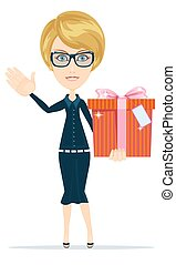 Business woman holding a present