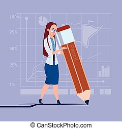 Business Woman Holding Big Pencil Writing Office Worker