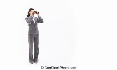 Business woman holding binoculars
