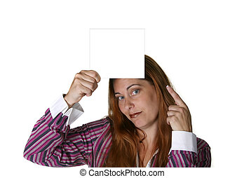 Business Woman Holding Blank Note