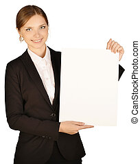 Business woman holding blank sheet of paper. On a white background