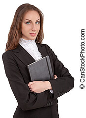 Business woman holding book in her
