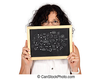 Business woman holding chalckboard with education ketch