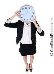 Business woman holding clock, full length portrait isolated...