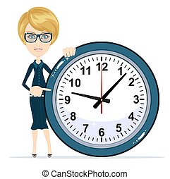 Business Woman Holding Clock. Time to Work.