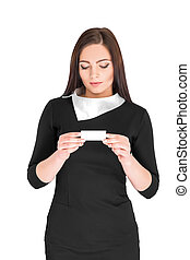 business woman holding credit card - Close-up portrait of...