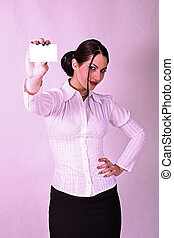 Business woman holding credit card - portrait of business...