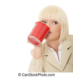 Business woman holding cup of coffee