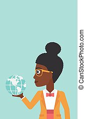 Business woman holding Earth globe.