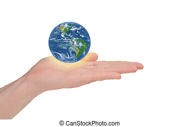 Business woman holding earth in her hand