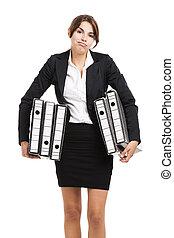 Business woman holding folders