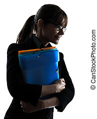 business woman  holding folders files portrait silhouette