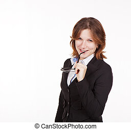 business woman holding glasses in mouth