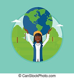 Business woman holding globe vector illustration.