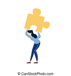 Business woman holding heavy puzzle piece illustration