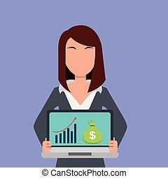 business woman holding laptop with bag money and financial graph on screen