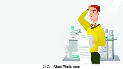 Business woman holding long bill.