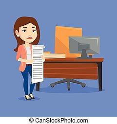 Business woman holding long bill. - Caucasian business woman...