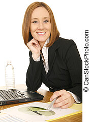 Business Woman Holding Pen