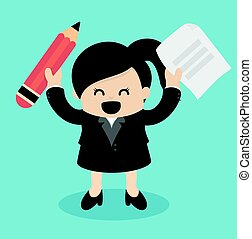 business woman holding pencil and paper