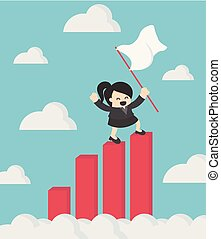 business woman holding success flag standing on top of Growth Chart