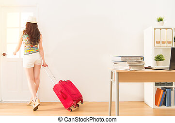 business woman holding suitcase get away - business woman...