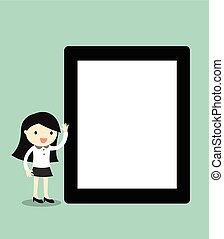 Business woman holding tablet.