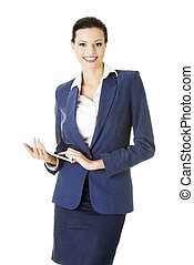Business woman holding tablet computer with touchpad.