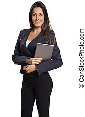 Business woman holding tablet PC with touchpad.