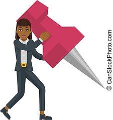 An Asian businesswoman cartoon character mascot woman holding a big thumb tack map drawing pin business concept