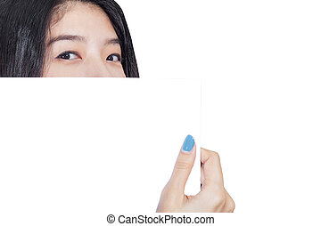 Business woman holding white card at front of her lips with copy space on white background