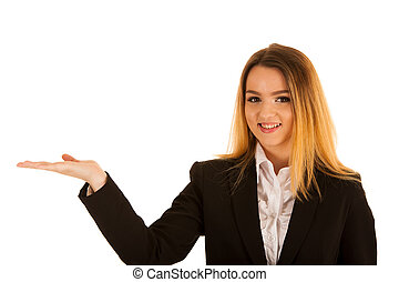 business woman holds hand over copy space for marketing a product
