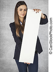 business woman holds in her hands bulletin boards
