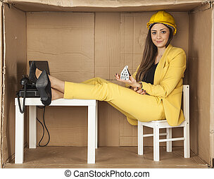 business woman holds in his hands a model home for you