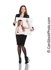 Business woman holds portrait