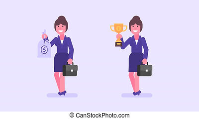 Business woman holds suitcase bag money and cup. Alpha...