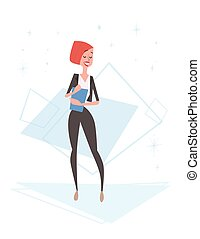 Business Woman Human Resources, Businesswoman Cartoon...
