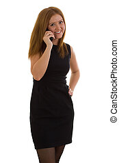 Business woman in a black dress talking on the phone