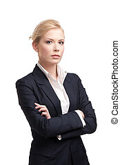 Business woman in a black suit on white background