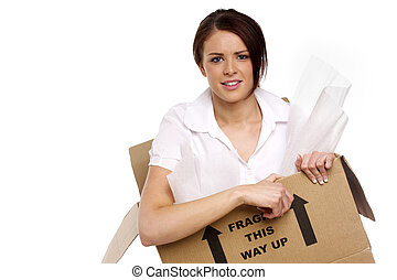 Business woman in a cardboard box