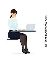 Business woman in a glasses and suit, working on a laptop computer. Flat style vector illustration.