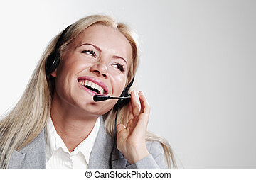 business woman in a headset