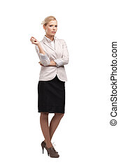 Business woman in a light beige suit, isolated on white