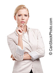 Business woman in a light beige suit, isolated on white background