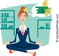 Business woman in a lotus position meditating.